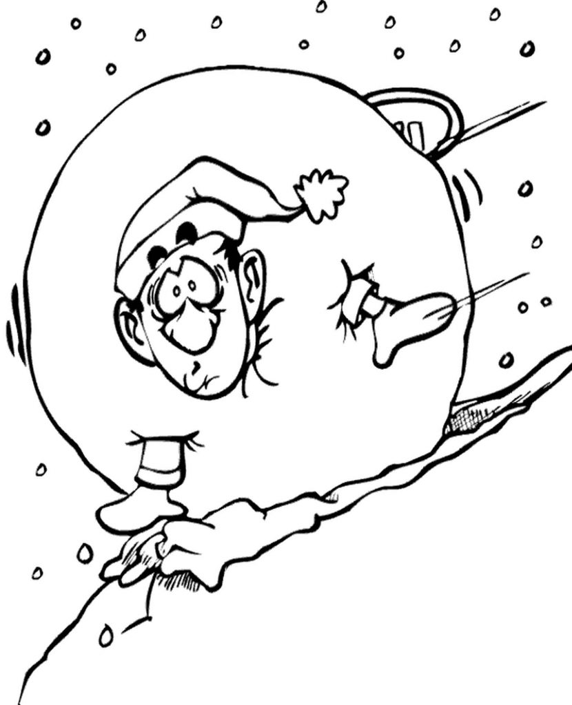 Winter Snow Ball Coloring Page