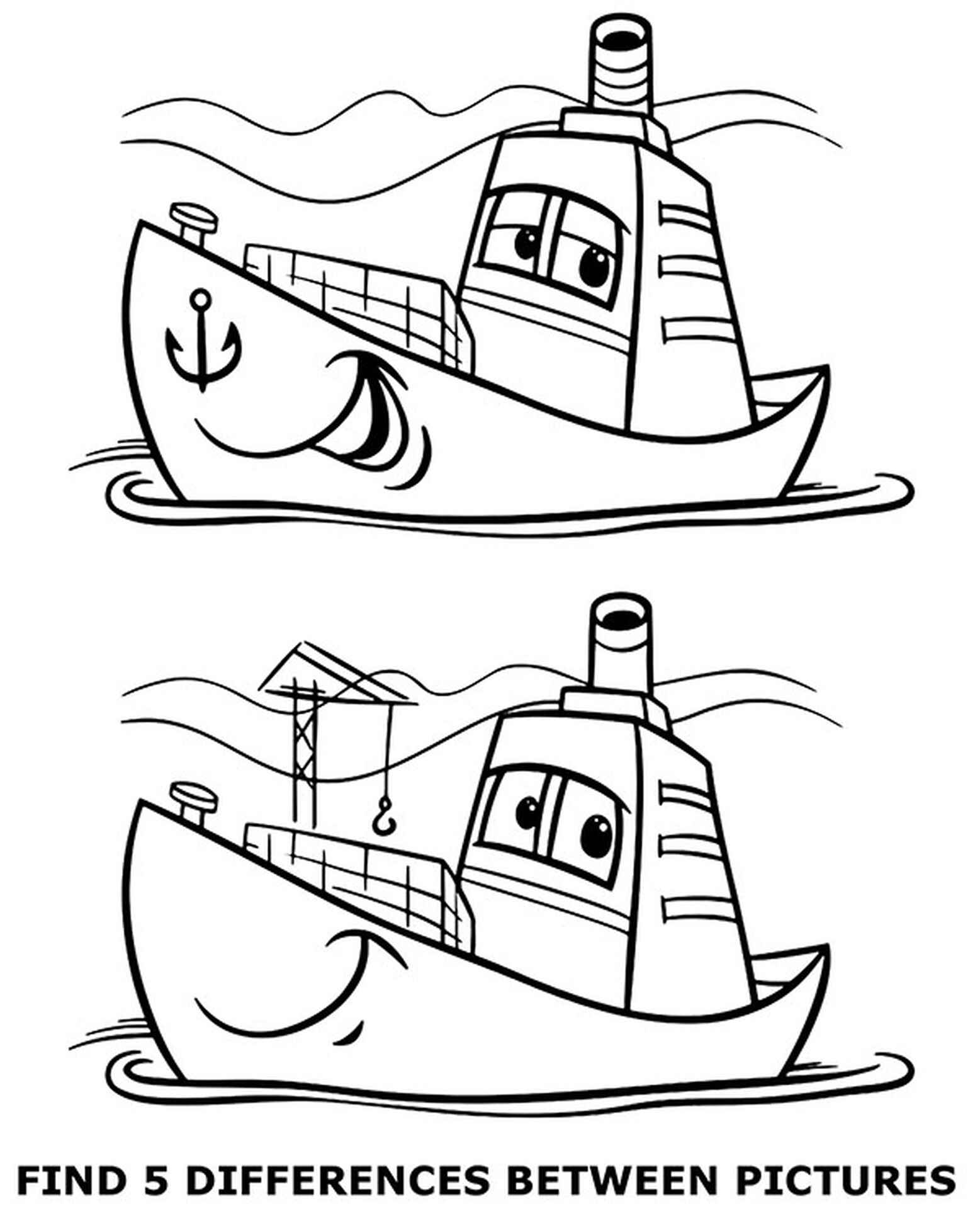 Worksheet Spot 5 Differences Picture Coloring Page