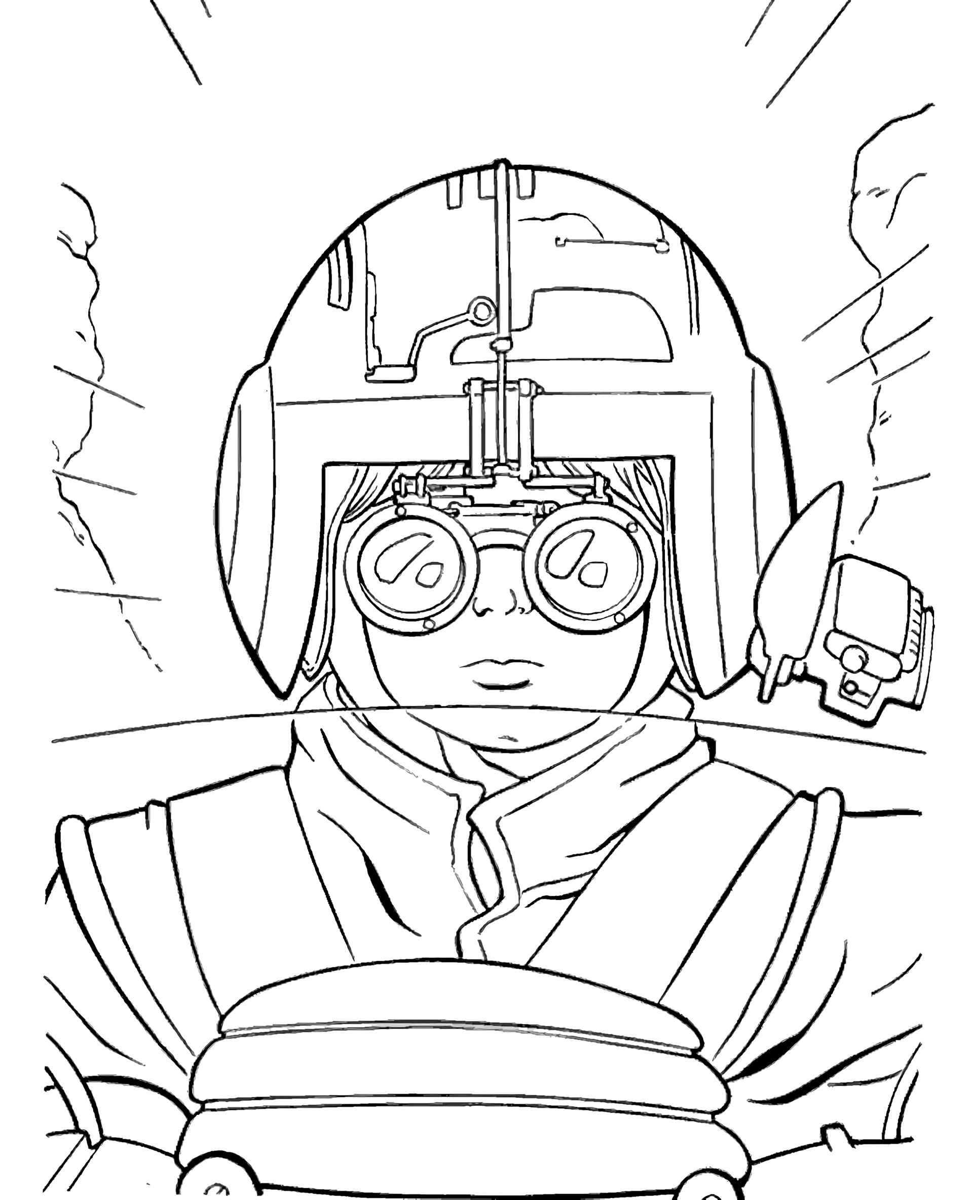 X Wing Pilot From Star Wars Coloring Page