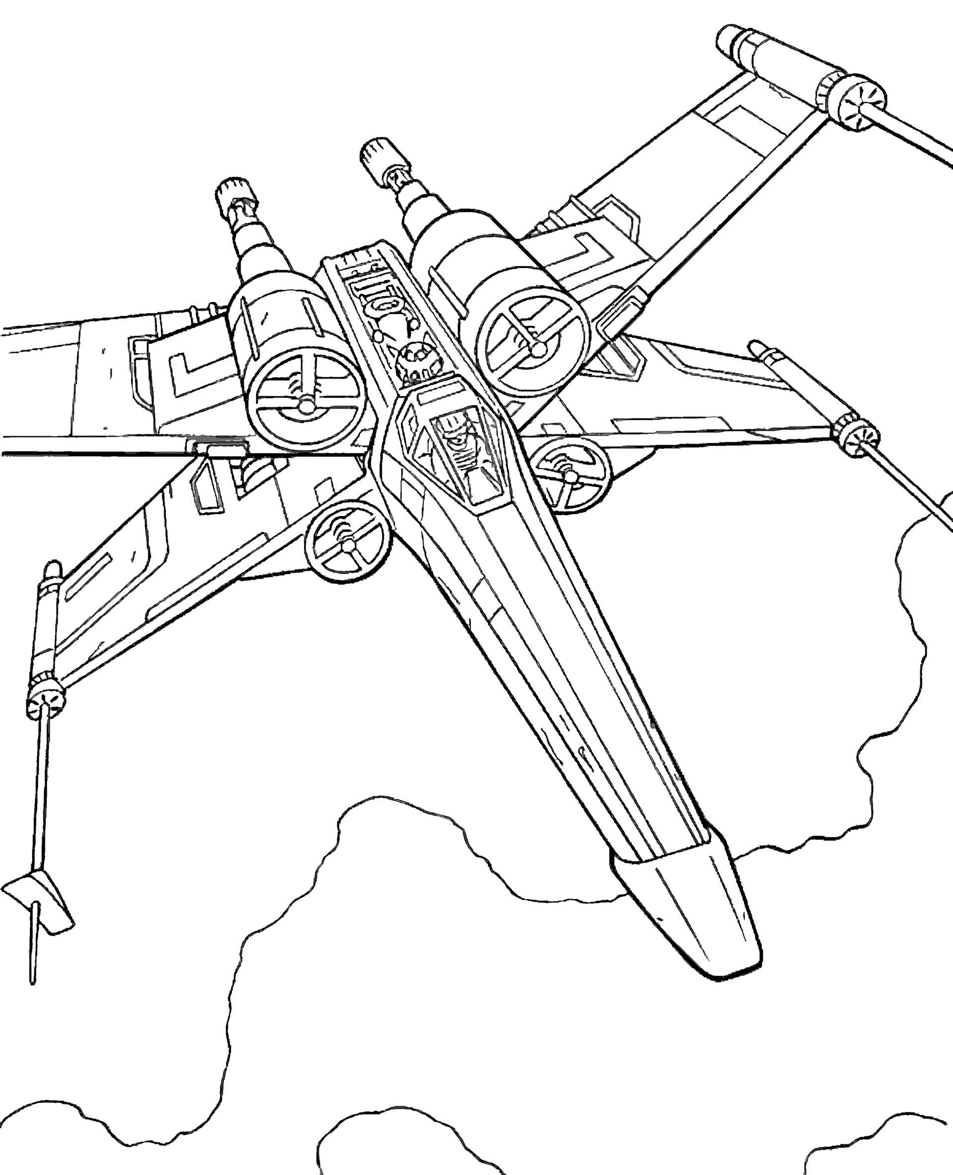 X Wing Spaceship From Star Wars Coloring Page