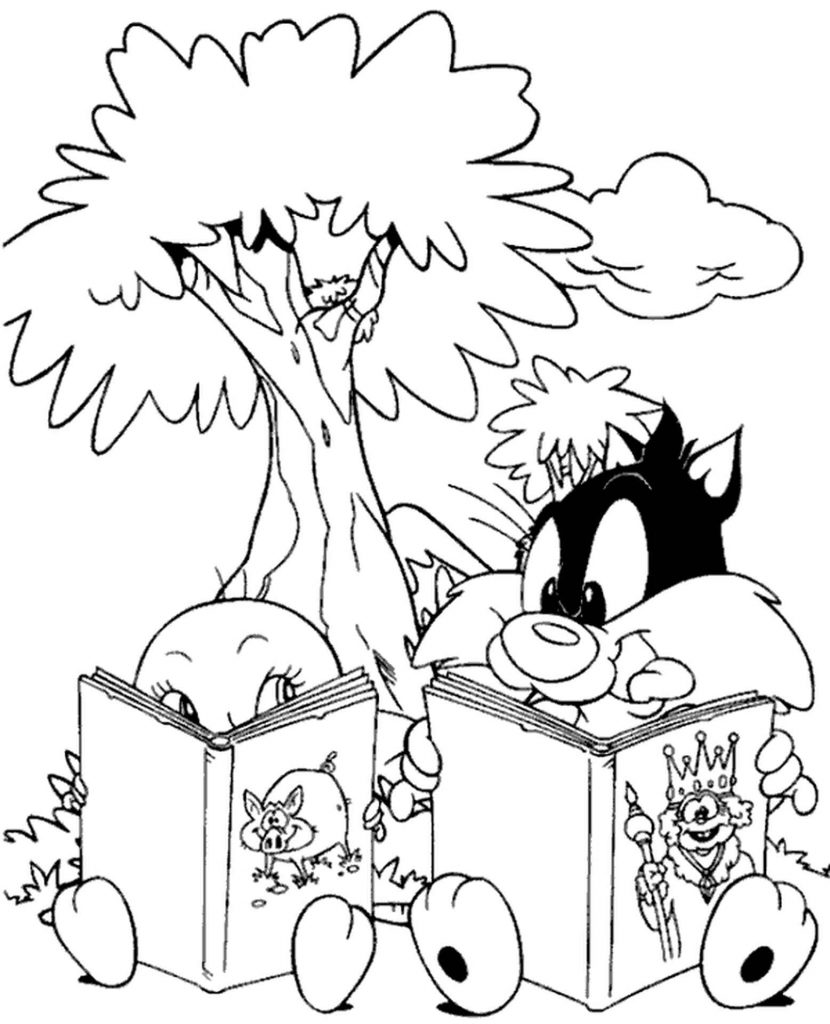 Young Canary Tweety And Cat Sylvester Reading Coloring Page