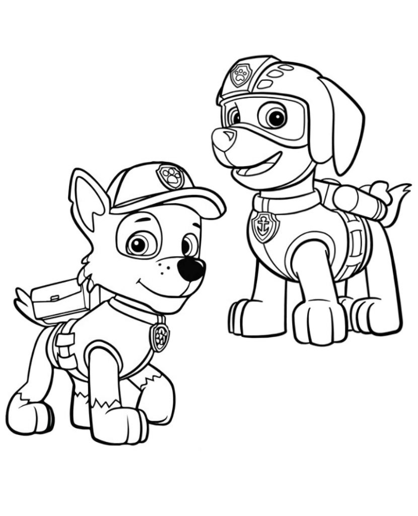 Zuma And Chase From Paw Patrol Coloring Page